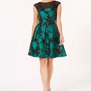 Julia Jordan Emerald pleated a line dress NWT
